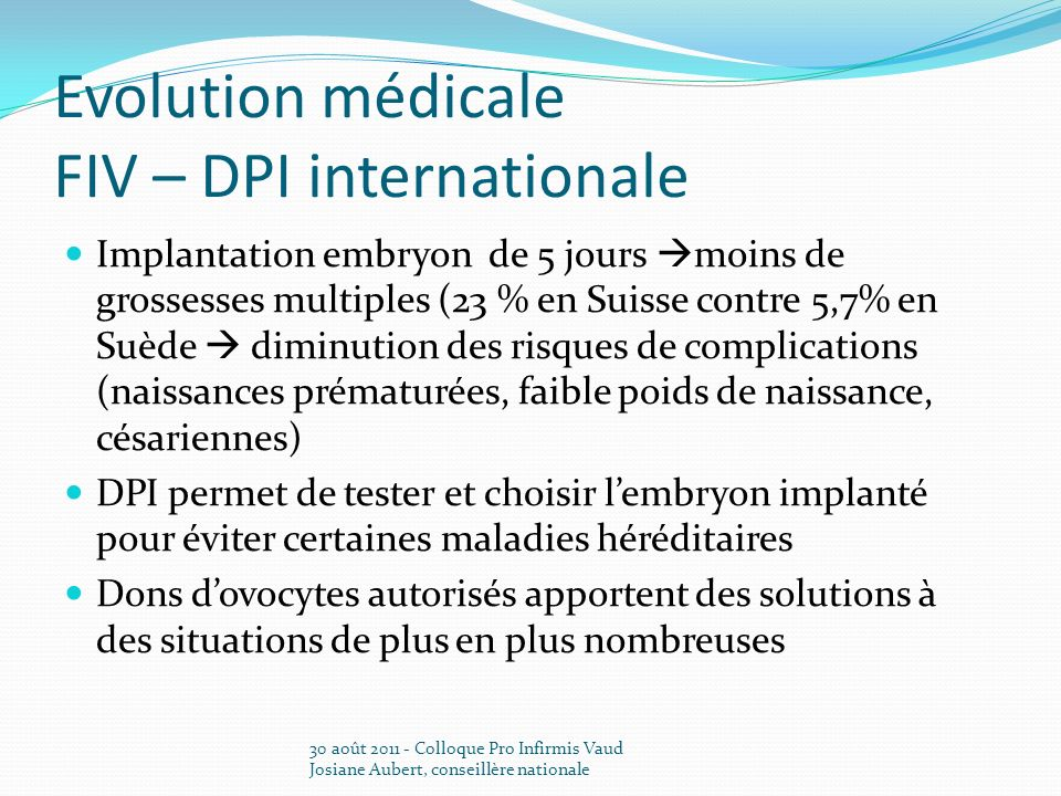 Evolution médicale FIV – DPI internationale