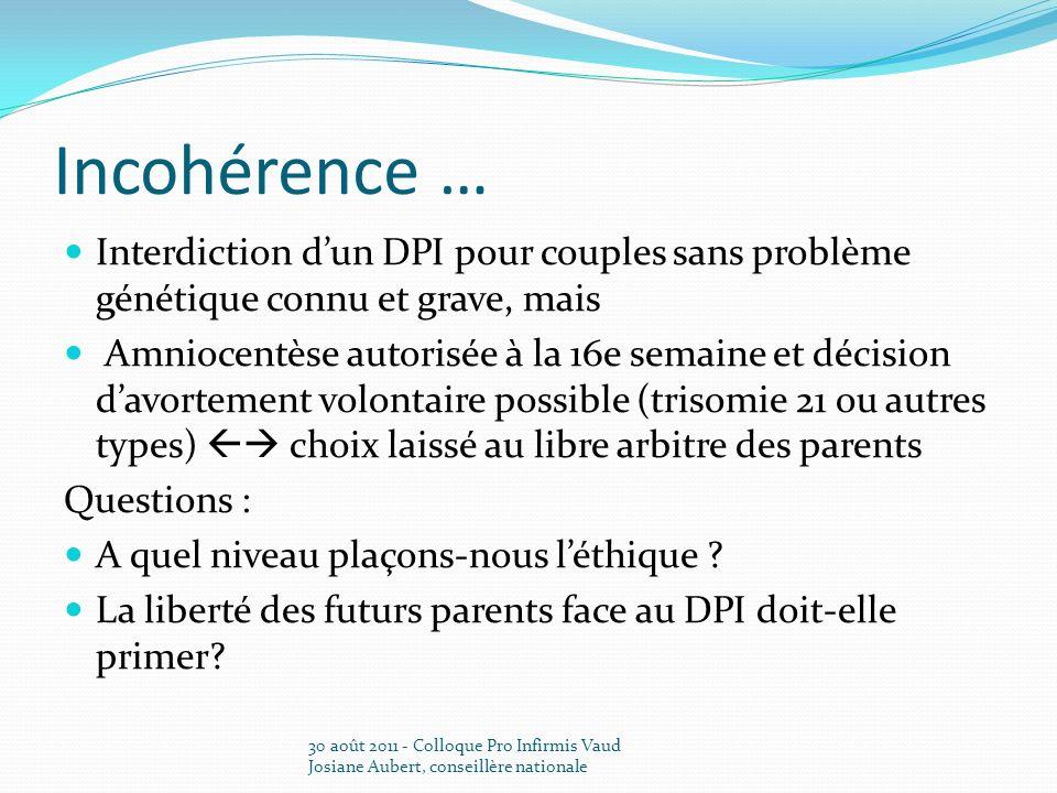 Incohérence … Interdiction d'un DPI pour couples sans problème génétique connu et grave, mais.