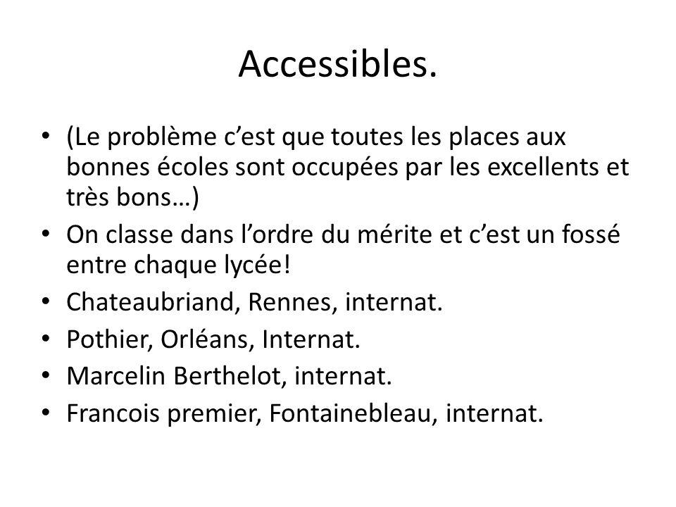 Accessibles. (Le problème c'est que toutes les places aux bonnes écoles sont occupées par les excellents et très bons…)