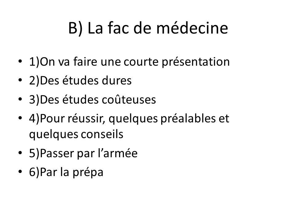 B) La fac de médecine 1)On va faire une courte présentation