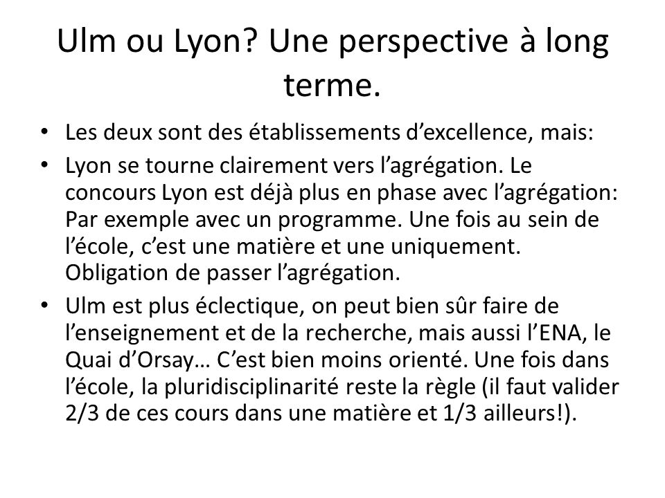 Ulm ou Lyon Une perspective à long terme.