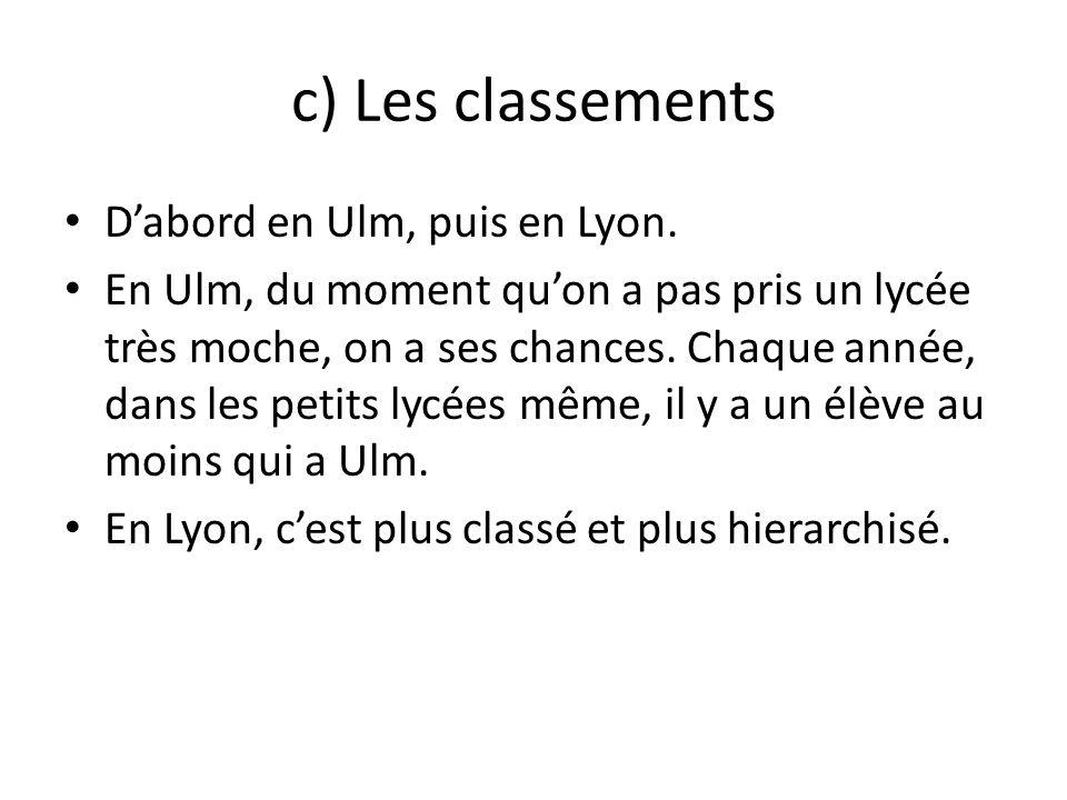 c) Les classements D'abord en Ulm, puis en Lyon.