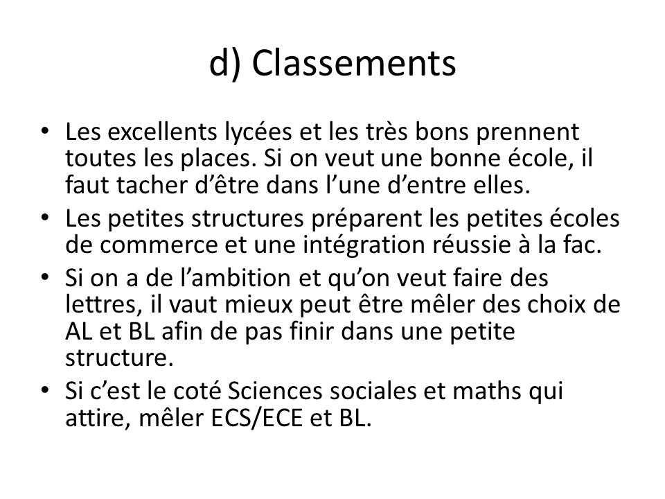 d) Classements