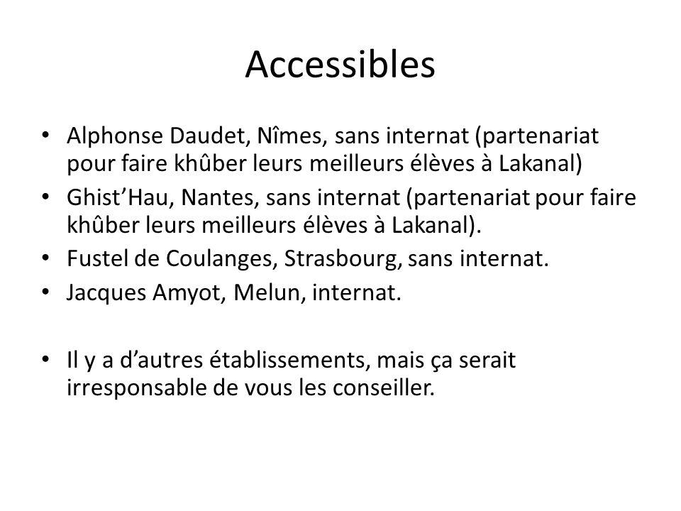 Accessibles Alphonse Daudet, Nîmes, sans internat (partenariat pour faire khûber leurs meilleurs élèves à Lakanal)