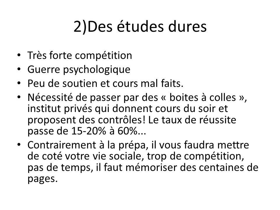 2)Des études dures Très forte compétition Guerre psychologique