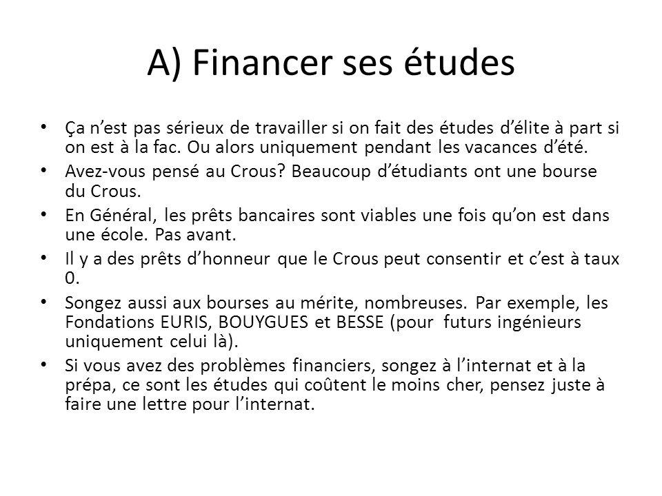 A) Financer ses études