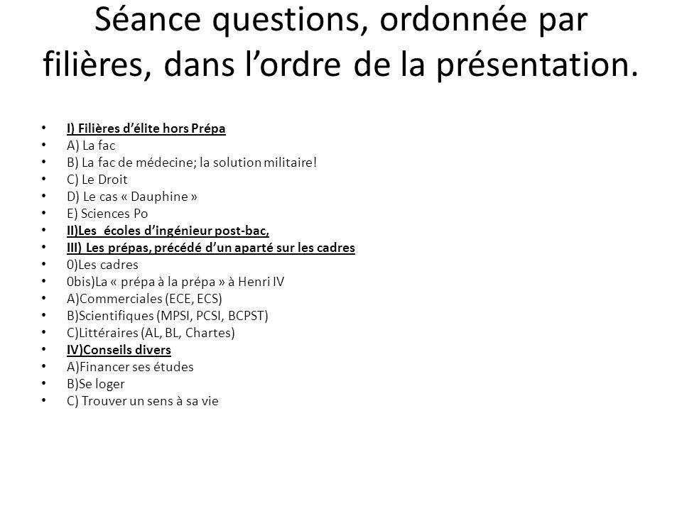 Séance questions, ordonnée par filières, dans l'ordre de la présentation.