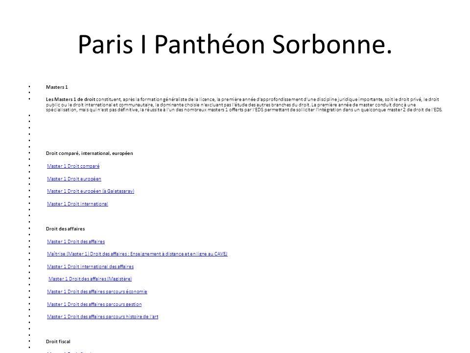 Paris I Panthéon Sorbonne.