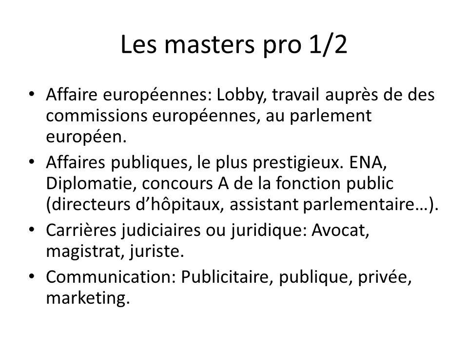 Les masters pro 1/2 Affaire européennes: Lobby, travail auprès de des commissions européennes, au parlement européen.
