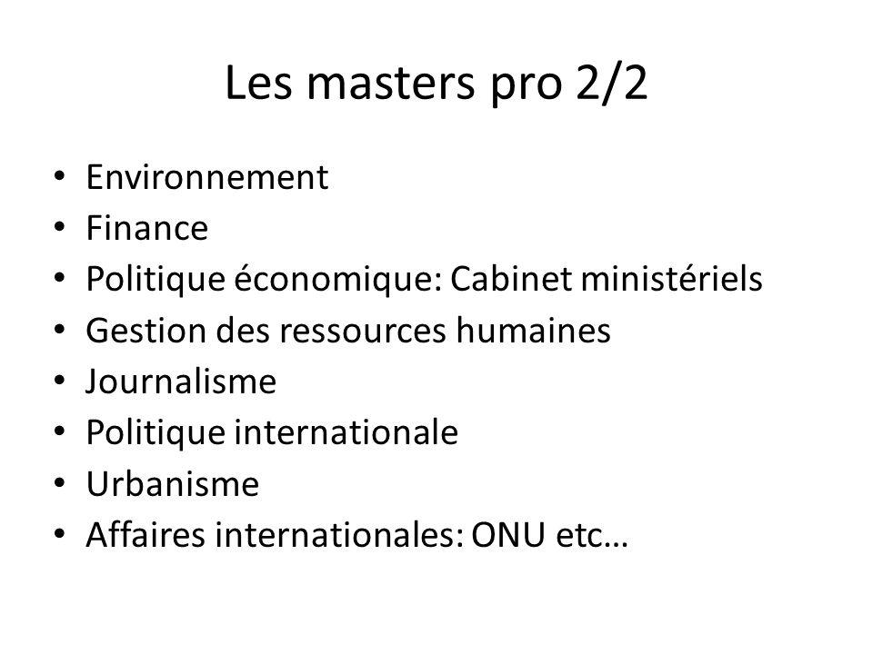 Les masters pro 2/2 Environnement Finance