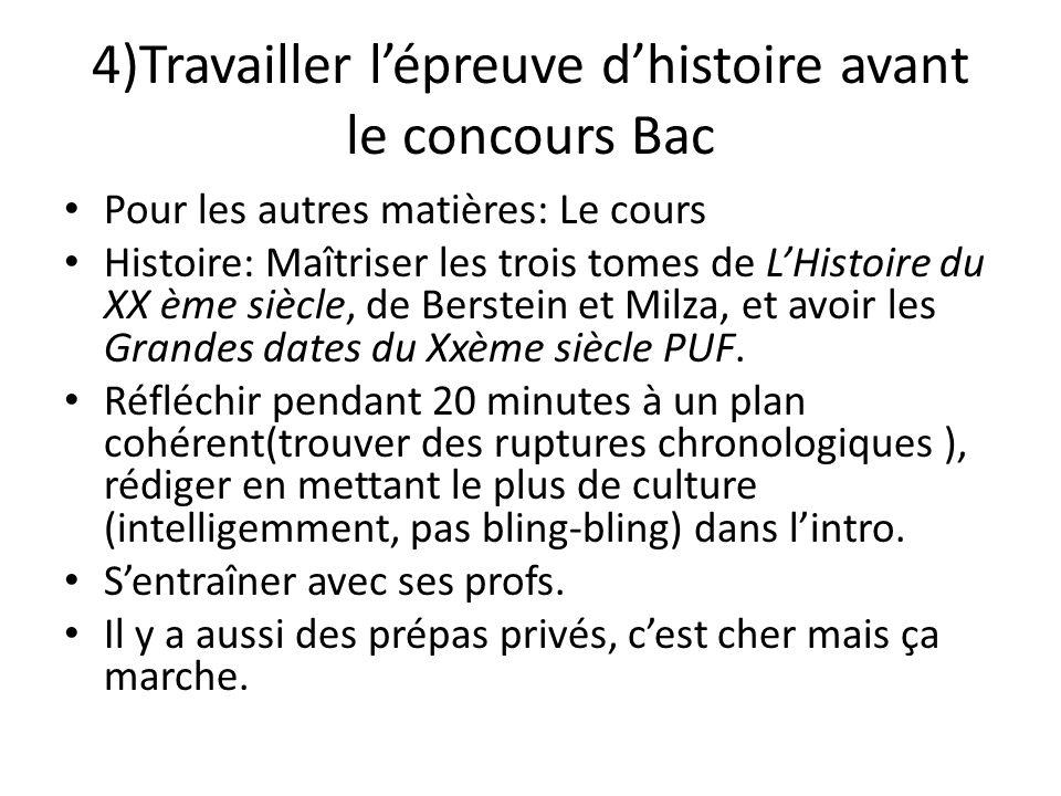 4)Travailler l'épreuve d'histoire avant le concours Bac