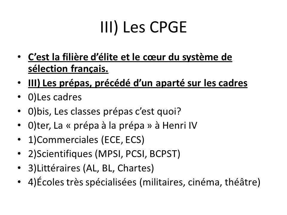 III) Les CPGE C'est la filière d'élite et le cœur du système de sélection français. III) Les prépas, précédé d'un aparté sur les cadres.