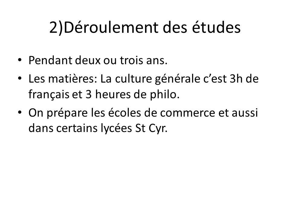 2)Déroulement des études