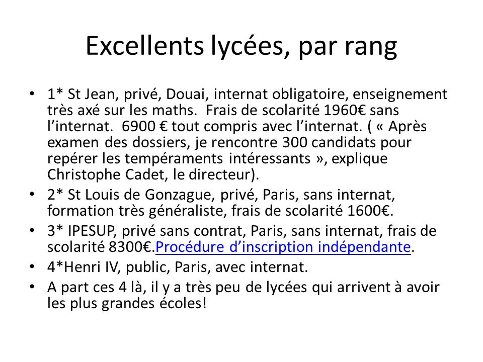Excellents lycées, par rang
