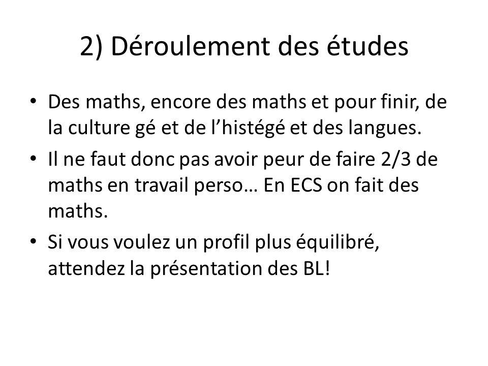 2) Déroulement des études