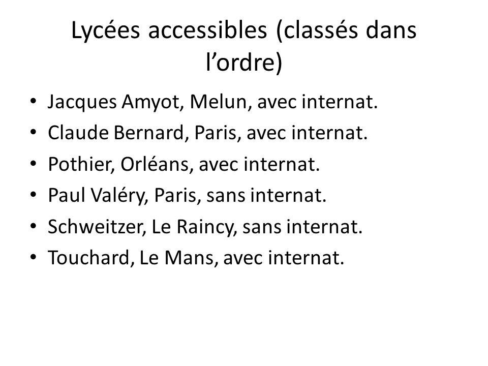 Lycées accessibles (classés dans l'ordre)