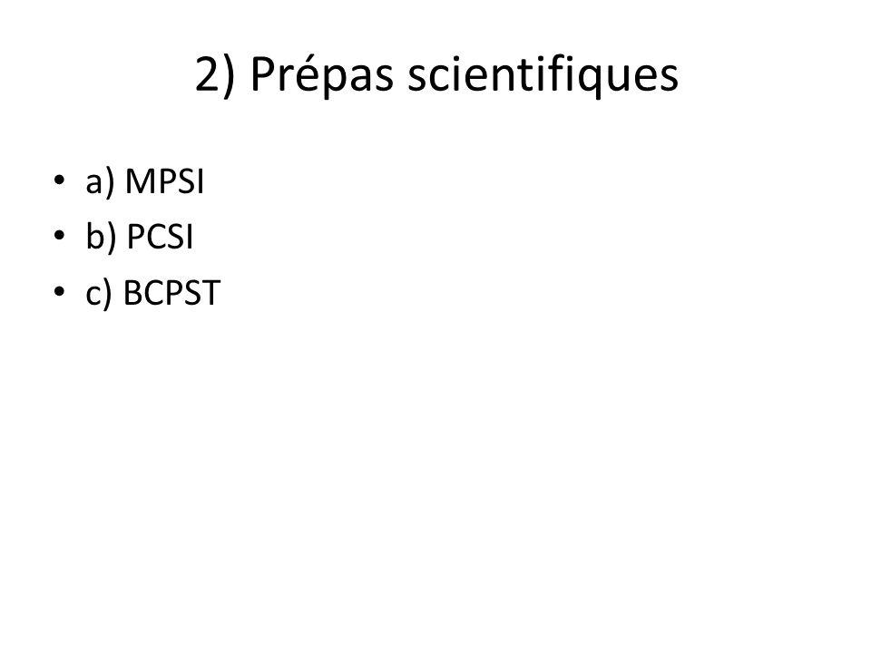 2) Prépas scientifiques