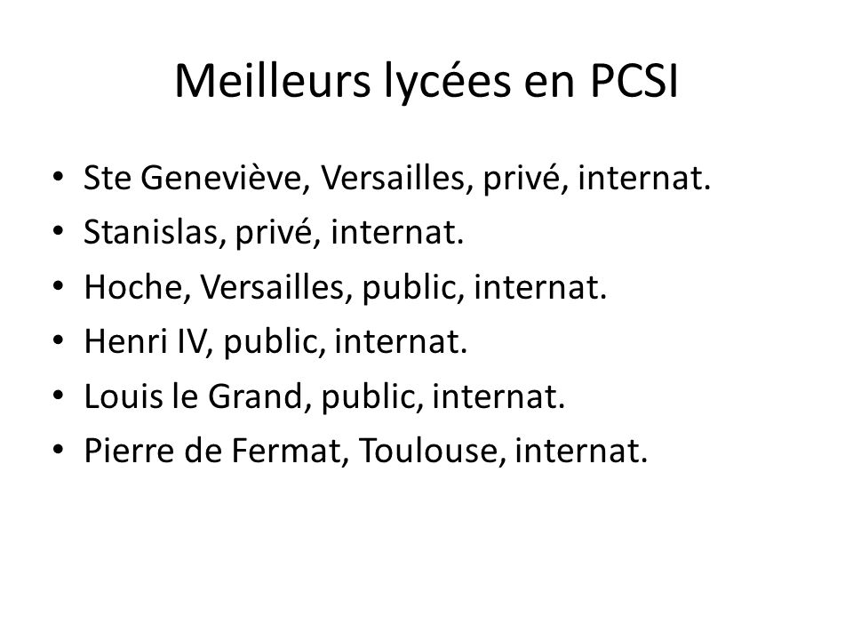 Meilleurs lycées en PCSI