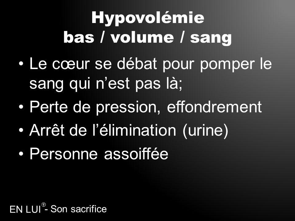 Hypovolémie bas / volume / sang