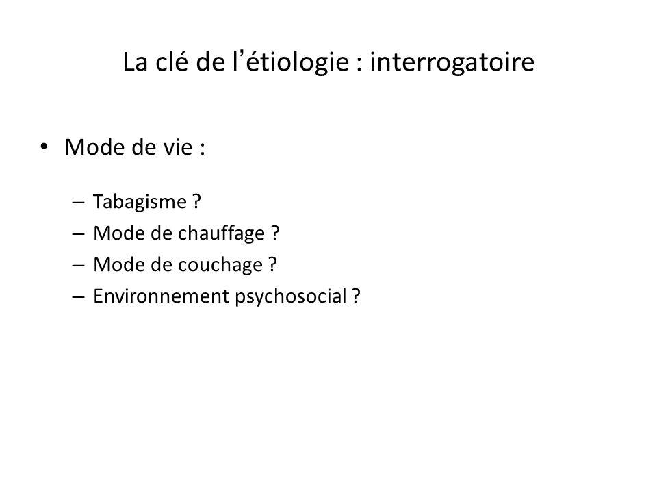La clé de l'étiologie : interrogatoire