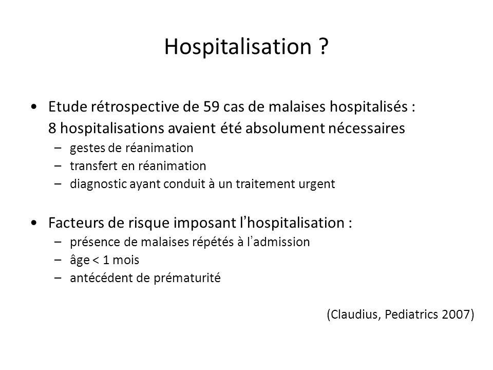 Hospitalisation Etude rétrospective de 59 cas de malaises hospitalisés : 8 hospitalisations avaient été absolument nécessaires.