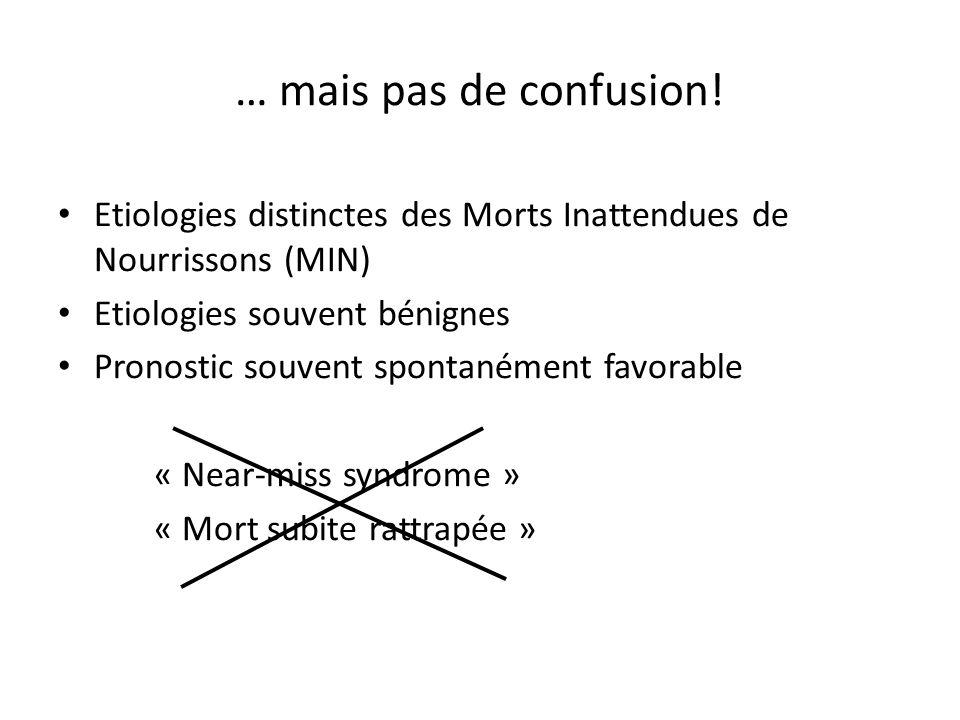 … mais pas de confusion!Etiologies distinctes des Morts Inattendues de Nourrissons (MIN) Etiologies souvent bénignes.