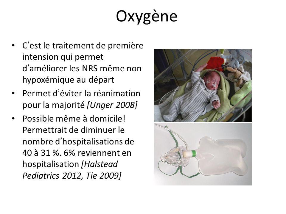 Oxygène C'est le traitement de première intension qui permet d'améliorer les NRS même non hypoxémique au départ.