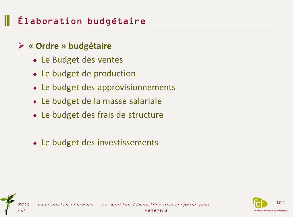 Élaboration budgétaire