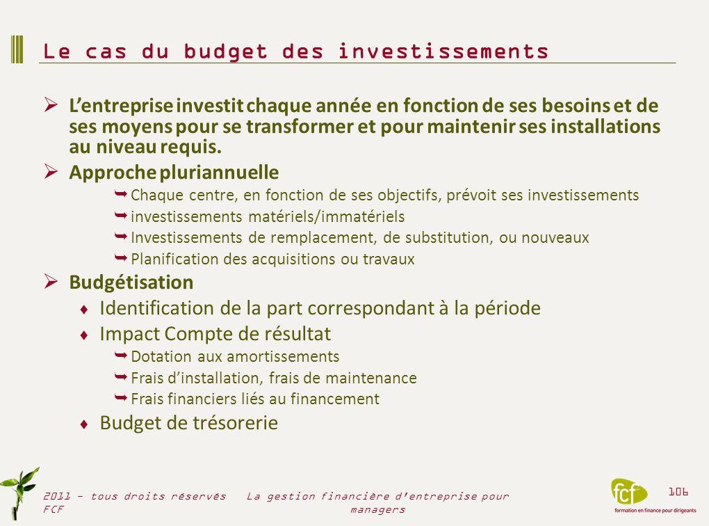 Le cas du budget des investissements