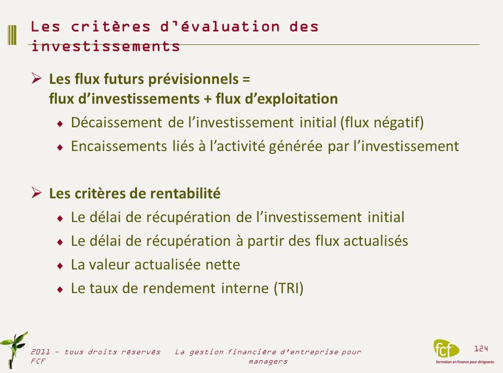Les critères d'évaluation des investissements