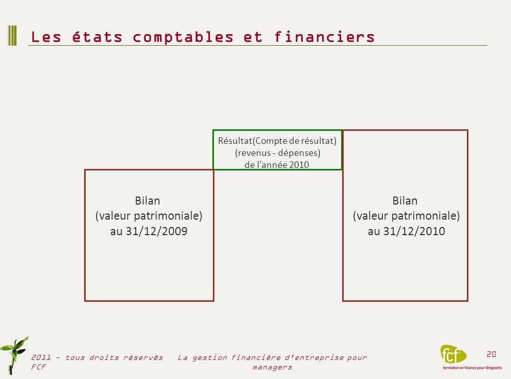 Les états comptables et financiers