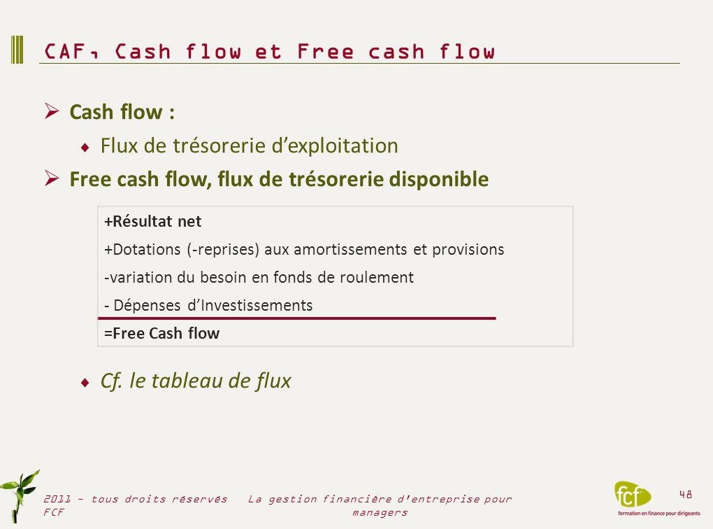 CAF, Cash flow et Free cash flow