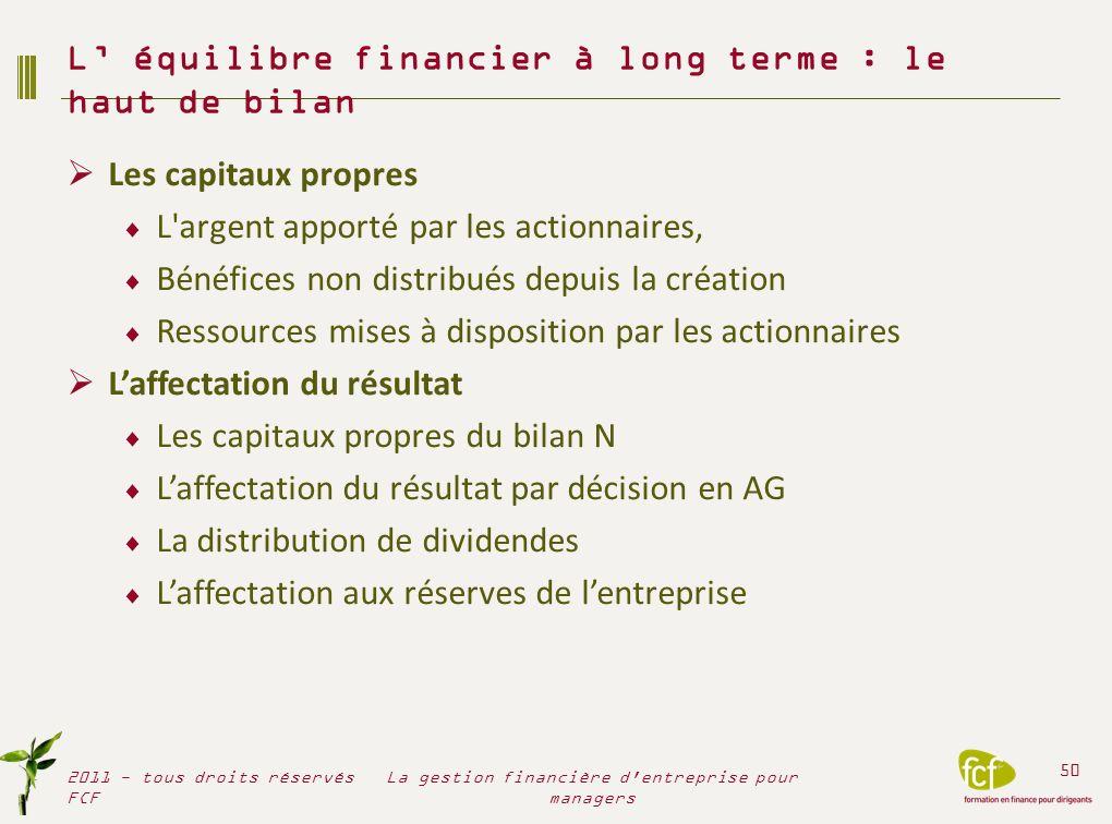 L' équilibre financier à long terme : le haut de bilan
