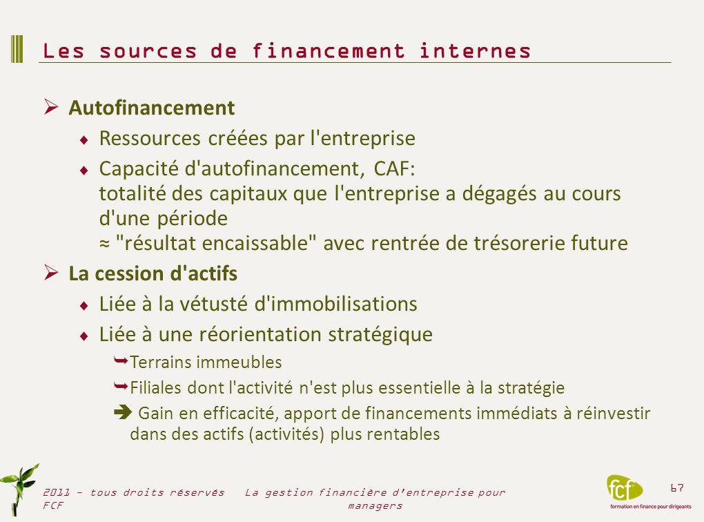 Les sources de financement internes