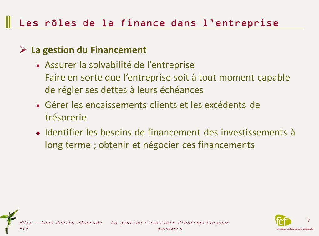 Les rôles de la finance dans l'entreprise