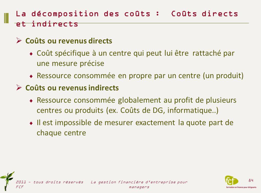 La décomposition des coûts : Coûts directs et indirects