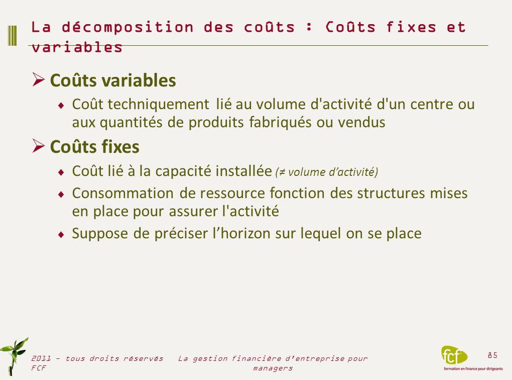 La décomposition des coûts : Coûts fixes et variables