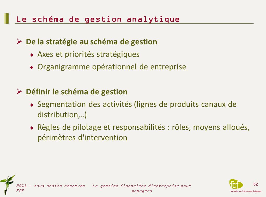 Le schéma de gestion analytique