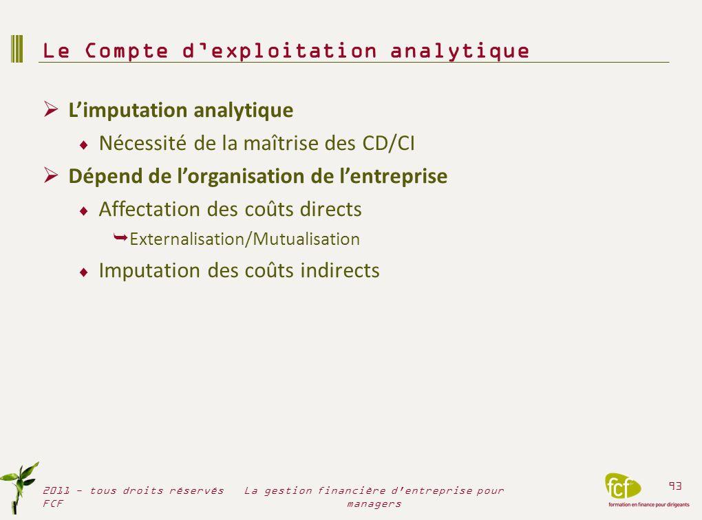 Le Compte d'exploitation analytique