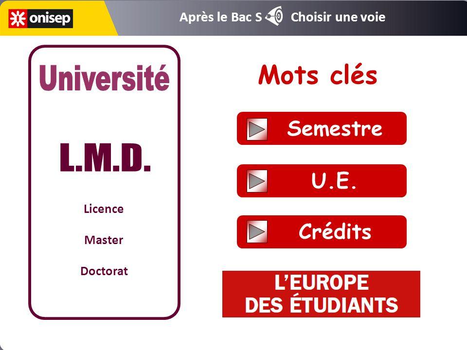 Mots clés Université L.M.D. Semestre U.E. Crédits