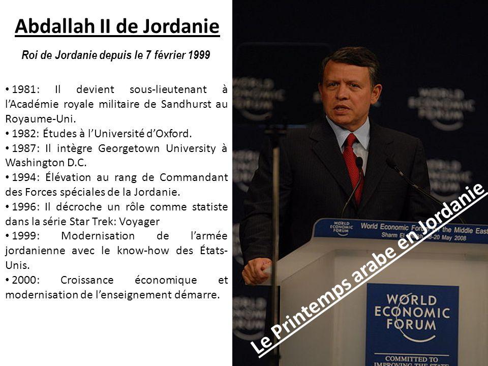 Abdallah II de Jordanie Le Printemps arabe en Jordanie