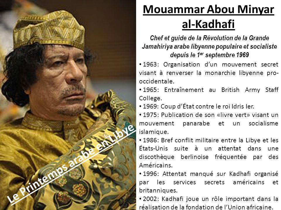Mouammar Abou Minyar al-Kadhafi Le Printemps arabe en Libye