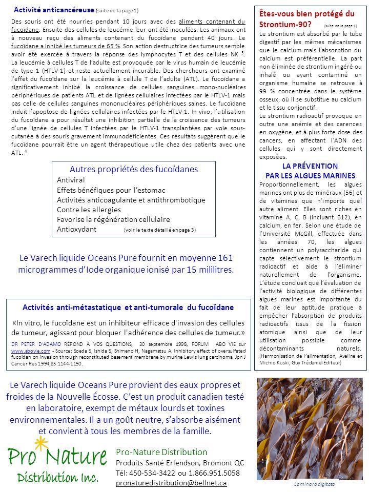 Activités anti-métastatique et anti-tumorale du fucoïdane