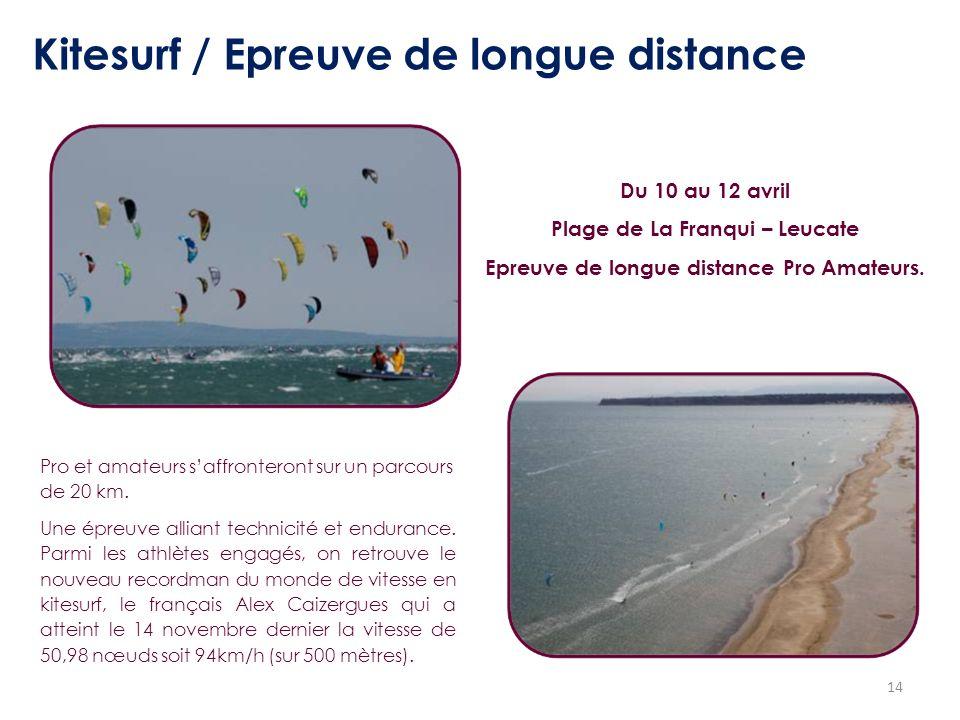 Plage de La Franqui – Leucate Epreuve de longue distance Pro Amateurs.