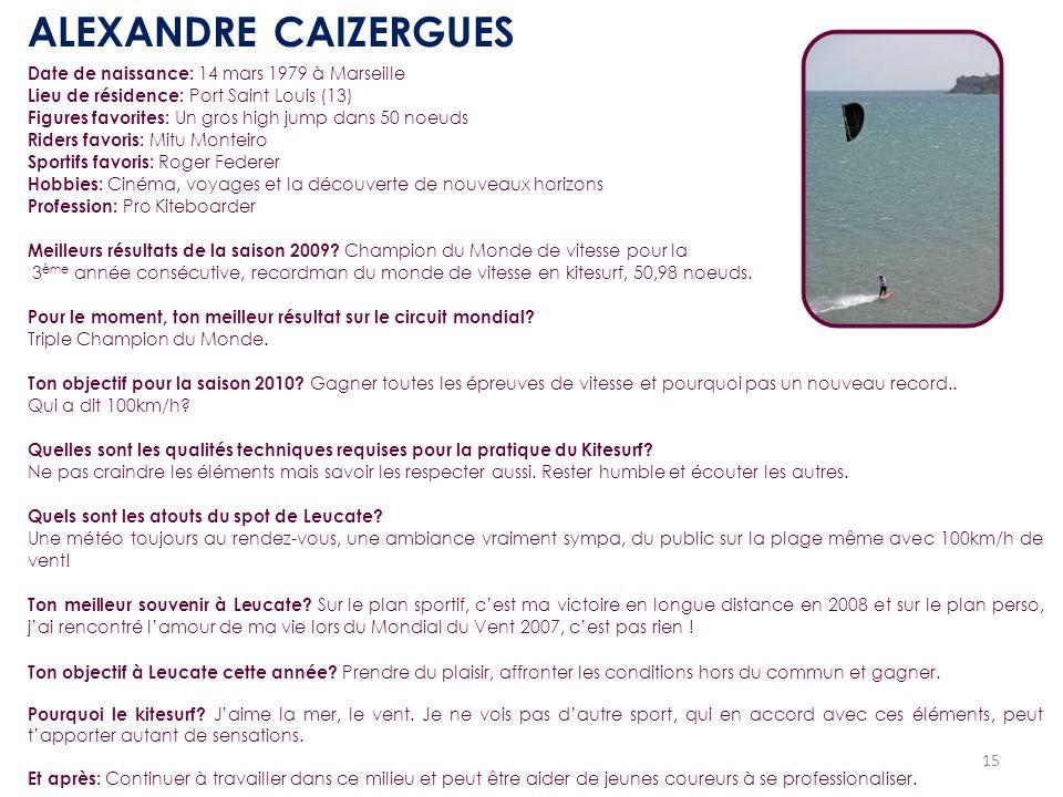 ALEXANDRE CAIZERGUES Date de naissance: 14 mars 1979 à Marseille