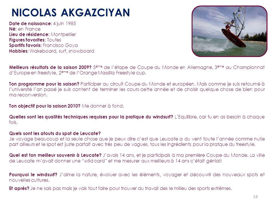 NICOLAS AKGAZCIYAN Date de naissance: 4 juin 1985 Né: en France