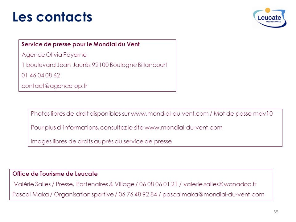 Les contacts Service de presse pour le Mondial du Vent