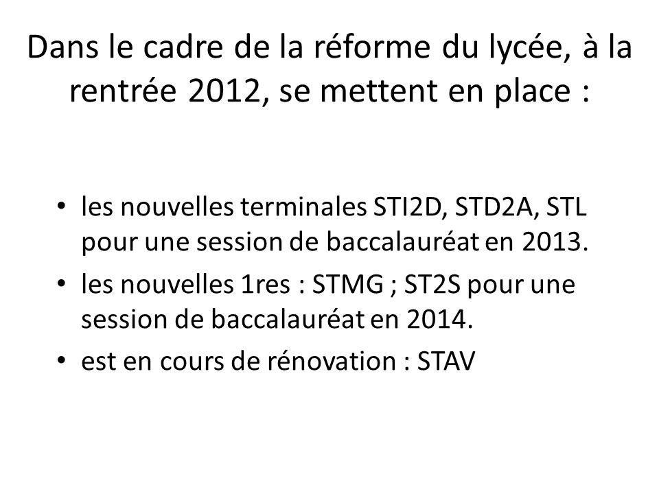 Dans le cadre de la réforme du lycée, à la rentrée 2012, se mettent en place :