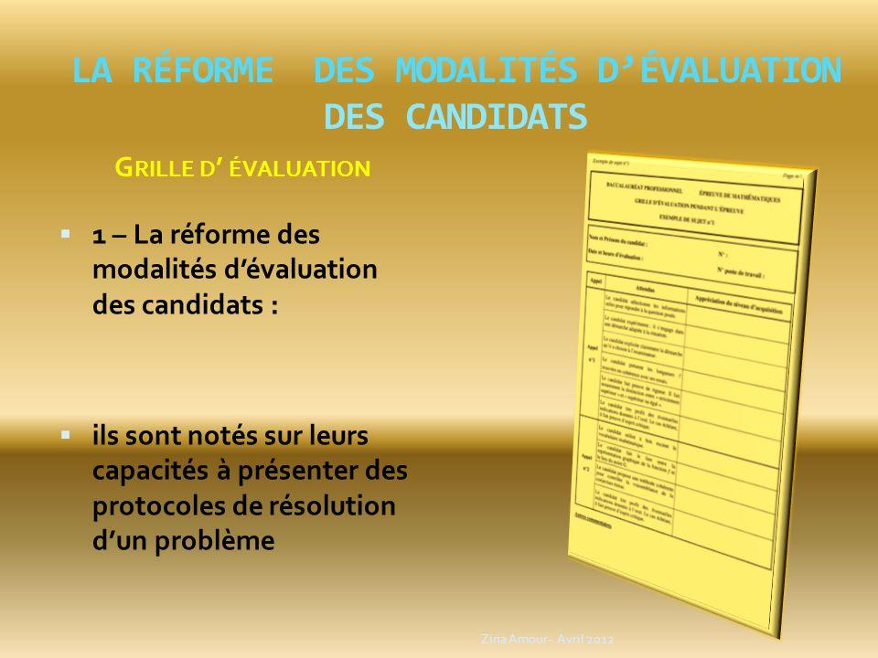 la réforme des modalités d'évaluation des candidats