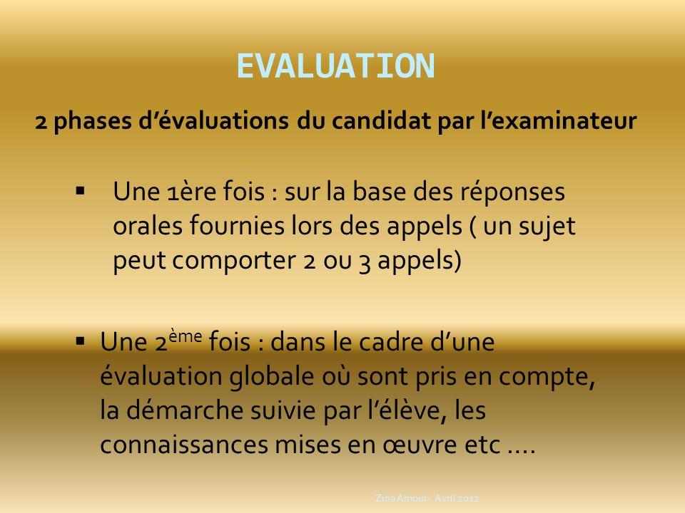 2 phases d'évaluations du candidat par l'examinateur
